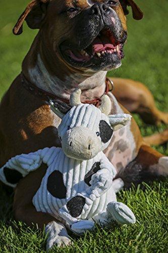 HuggleHounds Plush Corduroy Durable Knottie Cow, Dog Toy, Large