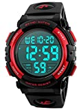 Men's Digital Sports Watch LED Military 50M Waterproof Watches Outdoor Electronic Army Alarm Stopwatch Red