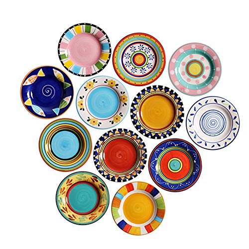 - Hand-painted Underglaze Round Plate, 16cm Ceramic Dish Set, Colorful Snack Fruit Plate For Children, 12 Pieces
