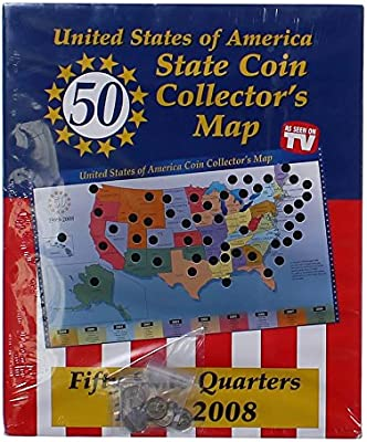 50 USA State Quarters Collectors Chart: Toys & Games - Amazon.com Quarter Map Of The United States on