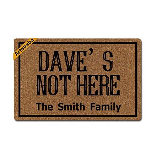 Artsbaba Personalized Your Text Doormat Dave's Not Here Doormats Monogram Non-Slip Doormat Non-Woven Fabric Floor Mat Indoor Entrance Rug Decor Mat 23.6