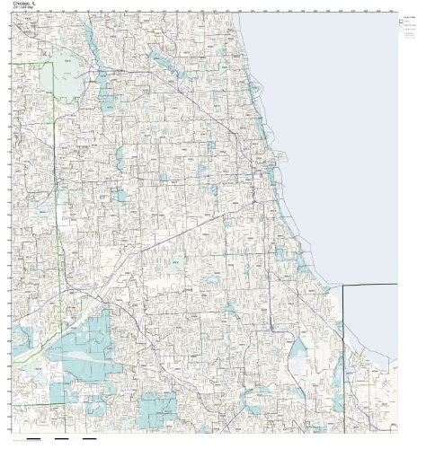 ZIP Code Wall Map of Chicago, IL ZIP Code Map Laminated (Map Wall Code Zip)