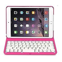 iPad Mini 3 Keyboard Case,7 Color LED Backlit Wireless Bluetooth Keyboard Auto Sleep Wake Function Protective Smart Folio Case Cover for 7.9 Inch iPad Mini 1/2/3 - Gold