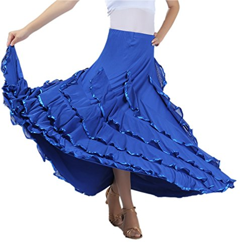 (CISMARK® Elegant Long Swing Ballroom Dancing Latin Dance Big Race Skirt, Blue, One-Size)
