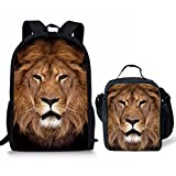 Showudesigns 17 inch Schoolbag Backpack Daypack Bookbag + Lunch Box for School Kids Boys Cool Lion