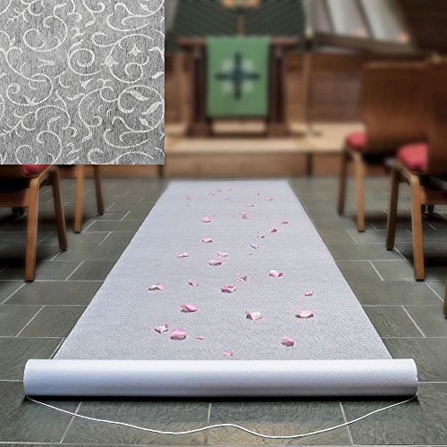 WHITE AISLE RUNNER WITH A FLORAL LACE DESIGN by Fashioncraft