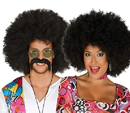 Ladies Mens Large Black 1960s 1970s Afro Hippie Hippy Wig Fancy Dress Costume Outfit Accessory (Black)