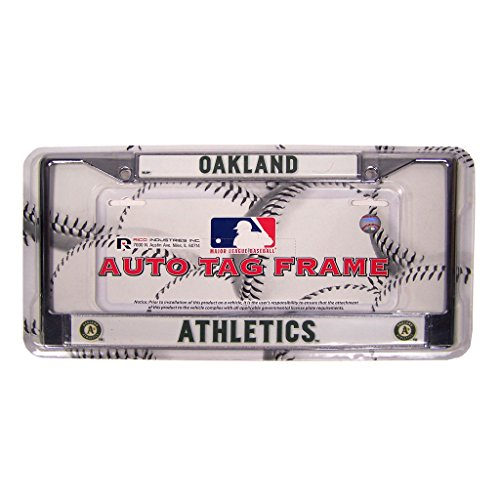 (Rico Oakland Athletics Official MLB 12 inch x 6 inch Chrome License Plate Frame Industries)