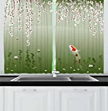 Curtains with Fish on Them Lunarable Koi Fish Kitchen Curtains, Japanese Koi Fish Painting Style Hanging Cherry Flowers Floating Leaves, Window Drapes 2 Panel Set for Kitchen Cafe, 55 W X 39 L Inches, Green Orange White