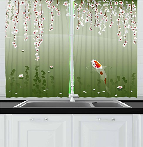 Koi Fish Kitchen Curtains by Lunarable, Japanese Koi Fish Painting Style Hanging Cherry Flowers Floating Leaves, Window Drapes 2 Panel Set for Kitchen Cafe, 55 W X 39 L Inches, Green Orange White (Them Cherries Kitchen On With Curtains)