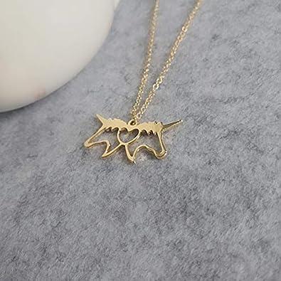 NOUMANDA Fashion Personality 2 Unicorn Love Heart Necklace Cutting Copper Hollow Pendant Animal Jewelry