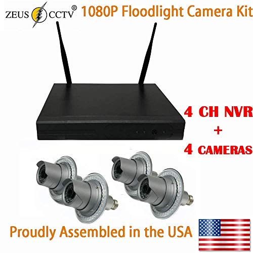 ZEUS CCTV Floodlight Surveillance Camera Standalone Kit with 4CH NVR System + 4 Twist in Flood Light Cameras Complete Install Kit (Proudly Assembled in The USA)
