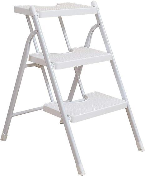 HOMRanger Escalera de Tijera Taburete de Metal Plegable Taburete móvil Escalera móvil Inicio para Subir Sillas de Espiga de plástico, 2 Colores, 2 tamaños (Color: Blanco 3 Lars): Amazon.es: Hogar
