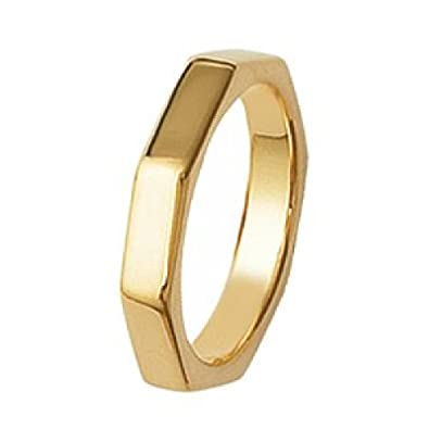 So Chic Jewels 18k Gold Plated Nut Bolt Wedding Band Ring Size S