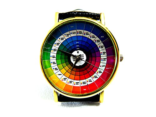 (Color Wheel Watch, Color Wheel Leather Watch, Bracelet Watch, Handmade Watch, Genuine Leather Bracelet Watch P182)