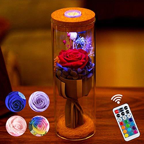 cbincn Bloom LED Rose Bottle Lamp Flower Bottle Light with Remote Control Night Light (Red)