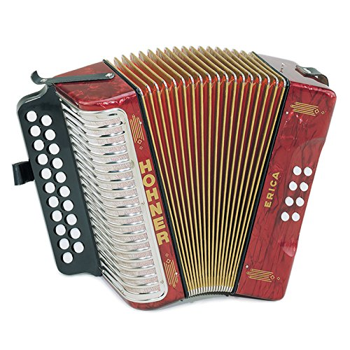 Hohner Diatonic Button Accordion 1600/2 Erica Two-Row GC, Red by Hohner Accordions