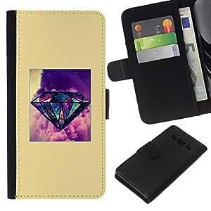 Supergiant (Yellow Diamond Purple Poster Gem) Dibujo PU billetera de cuero Funda Case Caso de la piel de la bolsa protectora Para Samsung Galaxy A3 / SM-A300