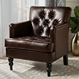 Christopher Knight Home 237354 the Denise Austin Home Vandor Bonded Leather Features Studs, Tufting, and Even Carved Wood Legs That Denote Only the Finest Club Chair Elegance. This Arm