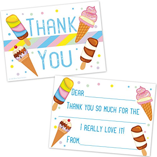 Ice Cream Birthday Invitations (Ice Cream Cone Kids Fill In Thank You Cards - Summer Birthday Party Thanks (20 Count with Envelopes))