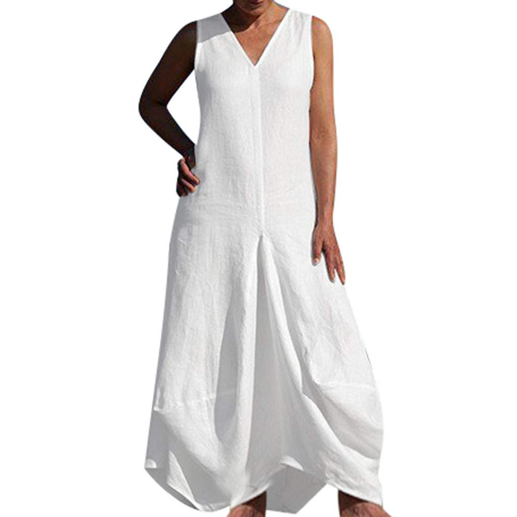 Bravetoshop Women Maxi Dresses,Summer Casual Solid Color Deep V-Neck Sleeveless Flowy Cocktail Gown
