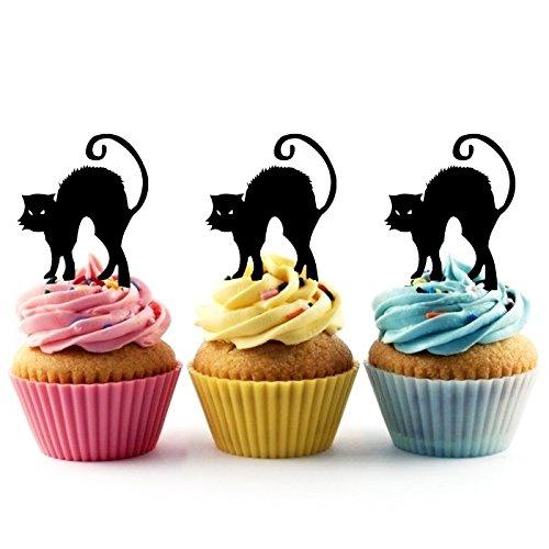 TA0416 Black Cat Halloween Silhouette Party Wedding Birthday Acrylic Cupcake Toppers Decor 10 pcs