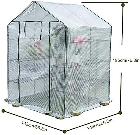 ビニールハウス・温室 ウォークインガーデン温室、ジッパードア、白い3層PEグリッド線温室、屋外冬防水断熱保温ハウス、設置が簡単 (Style : Style1)