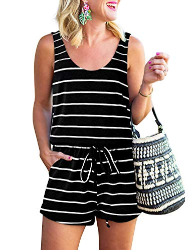 Women's Summer Tank Rompers Casual Loose Sleeveless Beam Foot Elasitic Waist Striped Romper with Pockets DWXheibai-L WFF08 ()