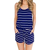 MIHOLL Women's Summer Striped Jumpsuit Casual Loose Sleeveless Jumpsuit Rompers (XX-Large, A-Blue)
