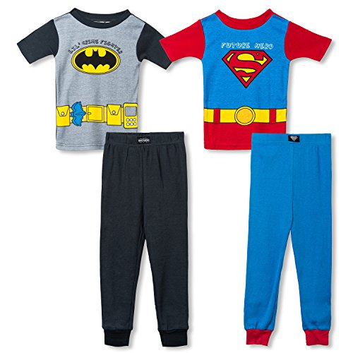 4abeefa06d89 Boys Little Heroes Batman and Superman 4 Piece Cotton Pajama ...