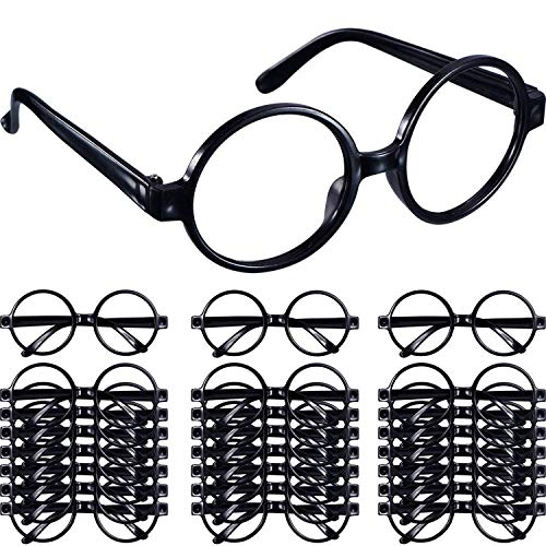Shappy 48 Pack Black Plastic Wizard Glasses Round Glasses Frame for Kid Favor Costume Party Supplies, Halloween Costumes Glasses Set]()