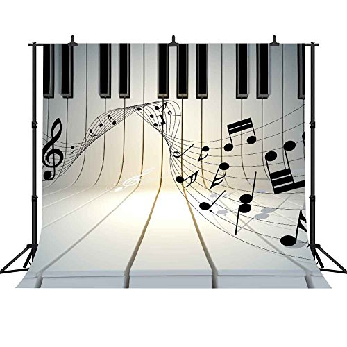 (FHZON Musical Note 10x10ft Photography Backdrop Piano Keyboard Stave Background for Choldren Baby Newborn Themed Party YouTube Backdrop Photo Booth Studio Props LXFH104)