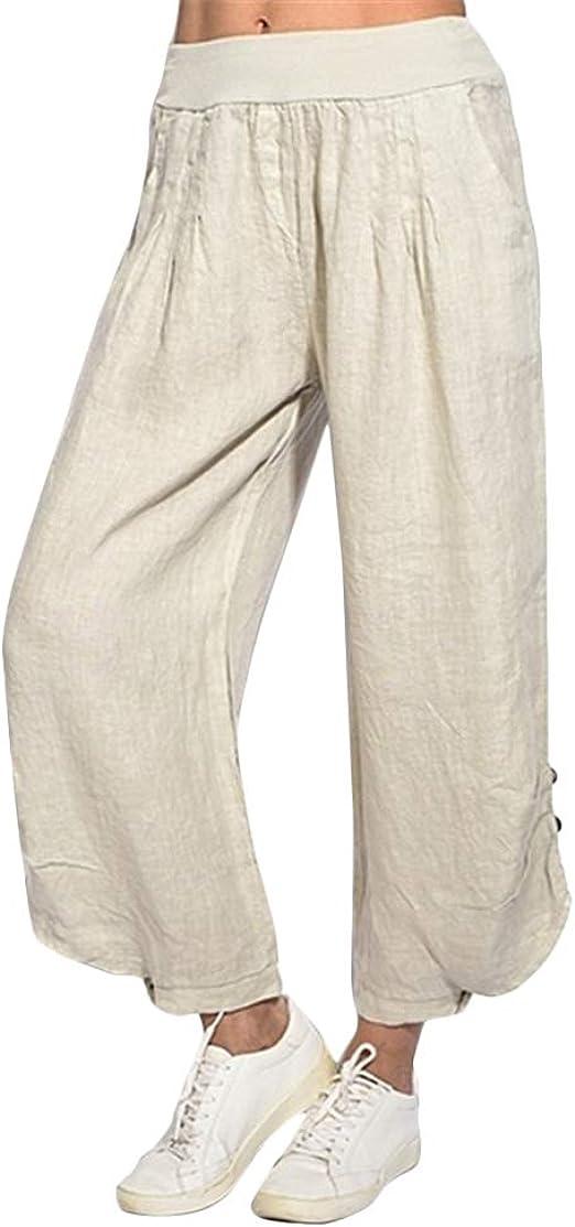 in cotone e lino Pantaloni larghi da donna Helisopus