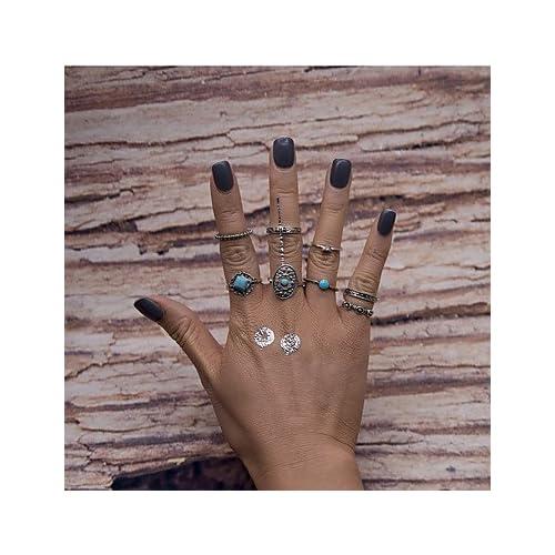 MJW&G Bagues pour Première Phalange Mode Vintage euroaméricains Alliage Forme Géométrique Argent Bijoux Pour Soirée 8 pièces