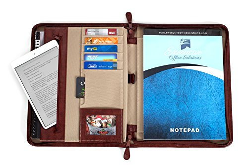 Professional Business Case Portfolio Padfolio Organizer Folder With iPad Mini, Kindle or Tablet Sleeve, Zipper, Card Holders, Pen Holder, Document Folder, and Front Paper Holder - Tan