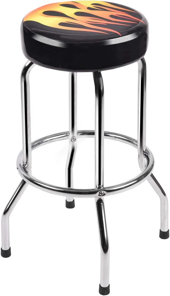 COSTWAY 29 Bar Stools Flame Round Padded Seat Retro Nostalgic Style Backless Chair Barstool, Black 1 x Stool