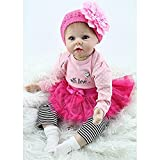 Yesteria 22 Inches Silicone Reborn Baby Dolls Girl Look Real Rose Red Tutu Skirt with Striped Pants