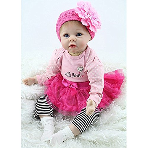 Yesteria 22 Inches Silicone Reborn Baby Dolls Girl Look Real Rose Red Tutu Skirt with Striped Pants by Yesteria (Image #1)