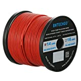 600 volt wire - BNTECHGO 14 Gauge Silicone Wire Spool Red 200 feet Ultra Flexible High Temp 200 deg C 600V 14AWG Silicone Rubber Wire 400 Strands of Tinned Copper Wire Stranded Wire for Model Battery Low Impedance