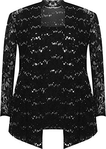 Party Cardigan - WEARALL Women's Plus Floral Lace Sequin Long Sleeve Vest Top Cardigan Party Set - Black - US 18-20 (UK 22-24)