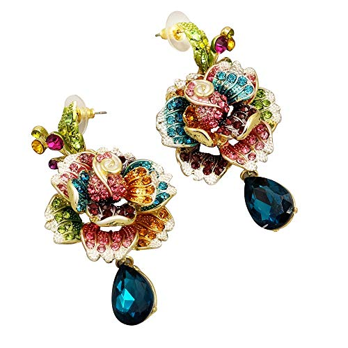 - Iris Island Womens Austrian Crystal Rhinestone Dangle Earrings Multi-color Flower for Proms Wedding Party