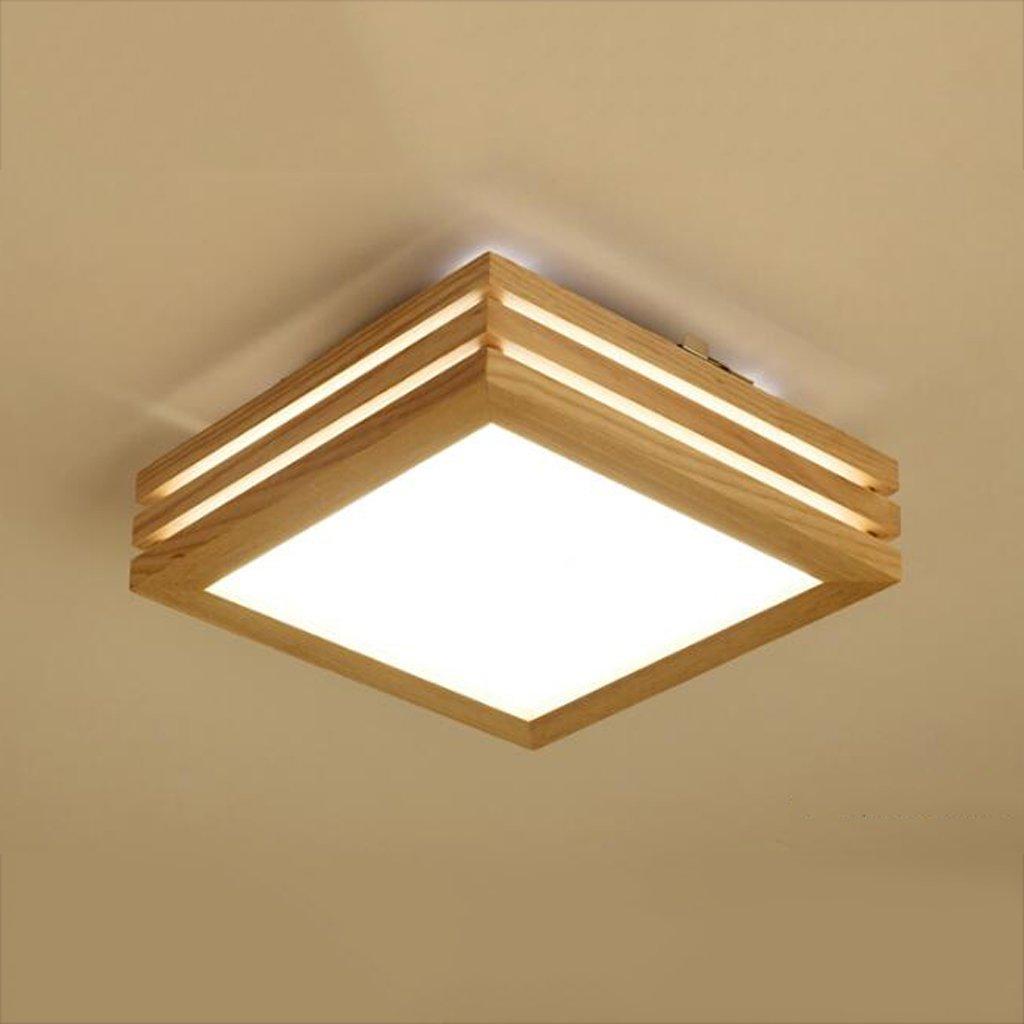 Deckenleuchten GAODUZI Holz Schlafzimmer Einfache rechteckige LED Living Study Master Bedroom Einfache Holz 9W