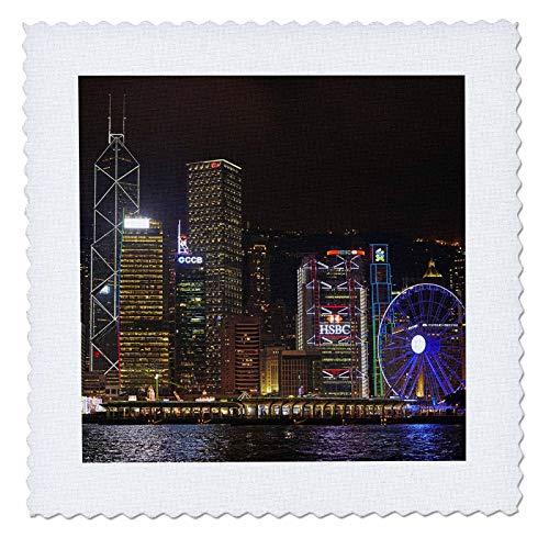 3dRose Danita Delimont - Hong Kong - Victoria Harbor, skyscrapers, Hong Kong Observation Wheel, Hong Kong. - 8x8 inch quilt square (qs_312676_3)