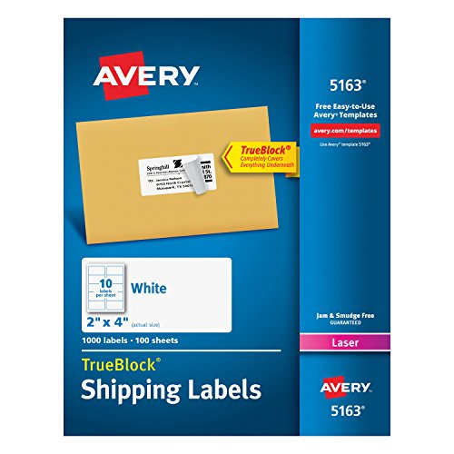 Avery Shipping Address Labels, Laser Printers, 1,000 Labels, 2x4 Labels, Permanent Adhesive, TrueBlock (5163) 5163 Laser Printer Labels