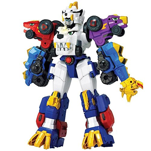 HW GLOBAL Dino Core Ultra D-Buster Saber Tiger 3 Stages Combining Transformable Robot Composed of 5 Seperate Units Joint Action Figures Dinosaur Robot Kids Toy (Set of 5)