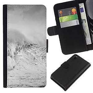 KLONGSHOP // Tirón de la caja Cartera de cuero con ranuras para tarjetas - Las olas de tormenta White Water Surf Verano - Sony Xperia Z3 D6603 //