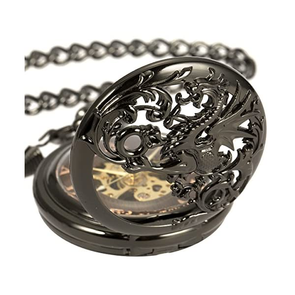 ManChDa Mens Antique Skeleton Mechanical Pocket Watch with Chain- Dragon Hollow Hunter 8