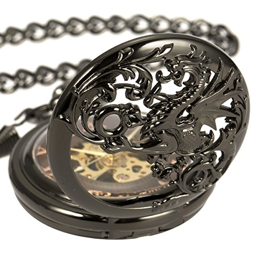 Mens Skeleton Mechanical Pocket Watch - Black Dragon Hollow Double Hunter ManChDa Burlywood Dial