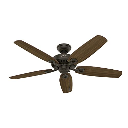 Hunter Indoor Ceiling Fan, with pull chain control – Builder Elite 52 inch, New Bronze, 53242