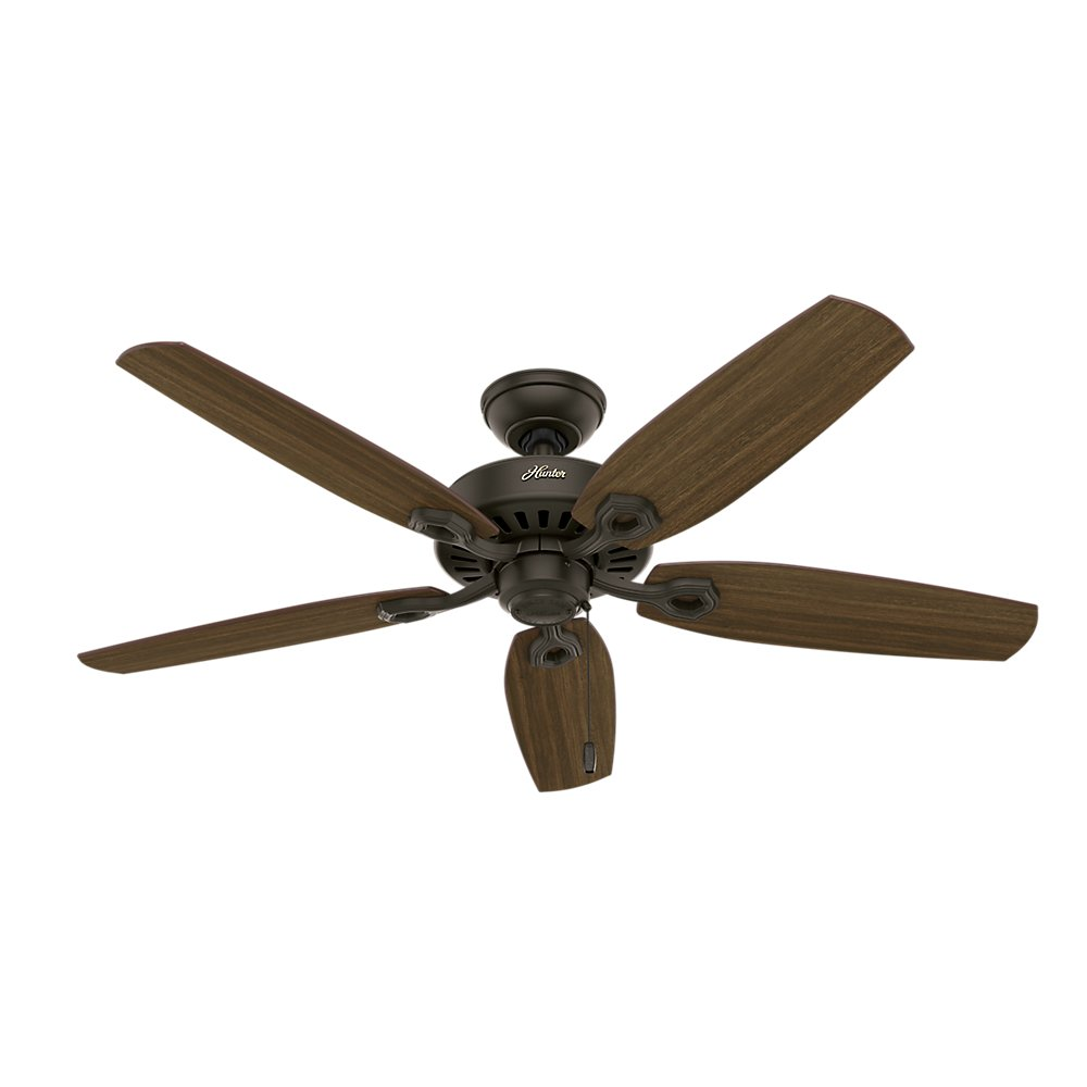 Hunter Fan Company 53242 Builder Elite Decorative Ceiling Fan, 13 Deg Blade Pitch, New Housing, Brazilian Cherry/Harvest Mahogany, 52, Bronze